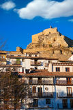 Morella Castellon castle and village in Maestrazgo Stock Images