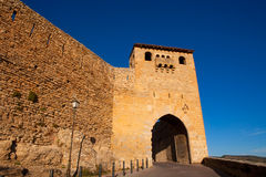 Morella in castellon Maestrazgo castle fort door Stock Photos