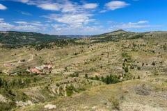 Morella est une ville murée antique en Espagne Images libres de droits