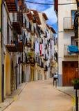Morella est une ville murée antique située sur un sommet dans le p Images libres de droits