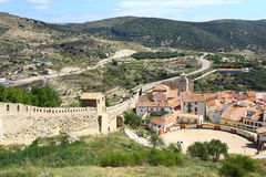 Morella, its walls & the bullring Stock Images