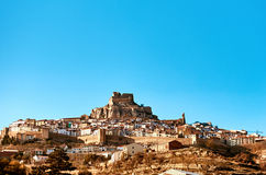 Morella linia horyzontu Hiszpania Zdjęcia Stock