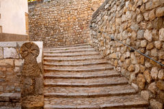 Morella in Maestrazgo castellon village masonry stairs Stock Photography
