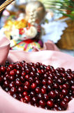 Morello cherries in the basket Stock Images