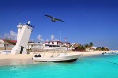 海滩加勒比玛雅morelos puerto里维埃拉海运 免版税库存图片