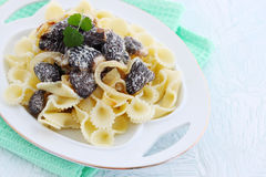 Morels in cream sauce,copy-space Stock Photography