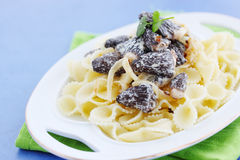Morels in cream sauce Royalty Free Stock Images