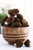 Morels in a wooden plate Royalty Free Stock Images