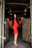 Morena atrativa com cabelo longo e uma figura delgada que está no vestido kasern Levantamento modelo bonito em um interior e em u fotos de stock