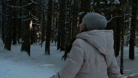 A morena bonita anda na floresta conífera coberto de neve video estoque