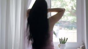A morena bonita com cabelo longo em uma manhã ensolarada abre as cortinas Mulher nova, atrativa pela janela lento video estoque