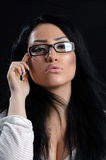 Morena bonita com vidros Imagens de Stock