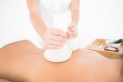 Morena bonita que aprecia uma massagem erval da compressa Foto de Stock