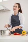 Morena bonita que cozinha uma refeição saudável Fotos de Stock