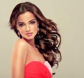 Morena com cabelo ondulado longo Imagem de Stock