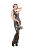 Morena com uma bola do espelho em suas mãos Fotografia de Stock Royalty Free