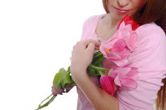 Morena da mulher da beleza com as tulipas do ramalhete da flor da mola 8 de março Isolado no branco Imagem de Stock