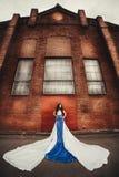 Morena de cabelos compridos no anjo azul-branco do vestido fotografia de stock