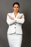 Morena em um terno de negócio branco foto de stock