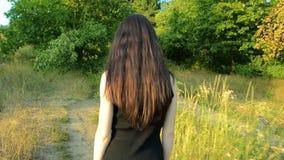 A morena magro nova com cabelo grosso vai no campo verde em um dia ensolarado em um vestido preto vídeos de arquivo