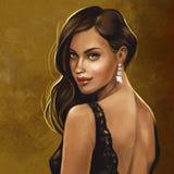 Morena no vestido preto do laço ilustração royalty free