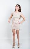 Morena pernudo nova bonita em uma altura completa cinzenta pequena do vestido de cocktail da menina risos muito, emoções poderosa Fotos de Stock
