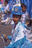 Morenada Dance Group - Arica, Chile. Female dancer in a Morenada dance group performing a traditional ritual dance as part of the Carnaval Andino con la Fuerza royalty free stock image