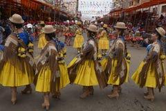 Morenada dancers at the Oruro Carnival stock image