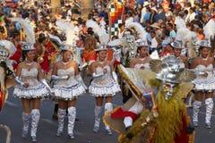 Morenada dansare - Arica, Chile Arkivbilder