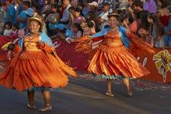 Morenada dansgrupp - Arica, Chile Arkivbilder
