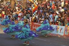 Morenada dansgrupp - Arica, Chile Royaltyfri Fotografi