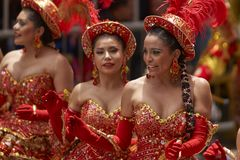 Morenadadansers in Oruro Carnaval in Bolivië Royalty-vrije Stock Fotografie