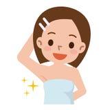 Morenita bastante joven que muestra apagado su axila liso y del pelo libremente Imagen de archivo