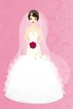 Morenita de la novia en fondo rosado Fotos de archivo libres de regalías