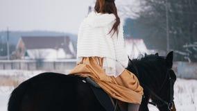 Morenita de pelo largo atractiva en un vestido en un caballo almacen de video