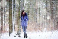 Morenita en bosque del invierno Imagen de archivo