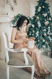 Morenita en un vestido largo hermoso que se sienta en un cuarto cerca de un árbol de navidad Fotografía de archivo libre de regalías