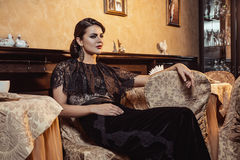 Morenita en vestido de noche Imagen de archivo libre de regalías
