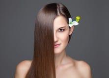 Morenita hermosa con el pelo recto largo Fotos de archivo libres de regalías