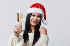 Morenita hermosa en Año Nuevo Imagenes de archivo