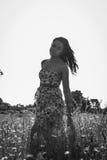 Morenita hermosa en un campo de trigo Imagen de archivo libre de regalías