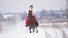 Morenita joven en un vestido rojo que galopa rápidamente en un caballo a través del campo nevado en el invierno metrajes