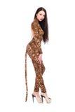 Morenita que lleva como un leopardo imagen de archivo