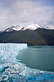 Moreno Glacier Rainbow with water Stock Photo