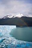 Moreno Glacier Rainbow with water. A rainbow over Moreno Glacier Stock Photo