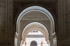 Moresque Verzierungen der Decke von Alhambra Islamic Royal Palace, Granada, Lizenzfreie Stockfotografie