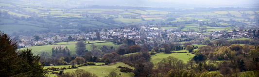 Moretonhampstead Village viewed from a nearby hill. The historic Dartmoor village of Moretonhampstead viewed from a nearby hill. The Moretonhampstead parish stock photo