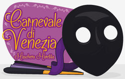 Moretta Mask and Traditional Fan with Sign Commemorating Venice Carnival, Vector Illustration Royalty Free Stock Photo