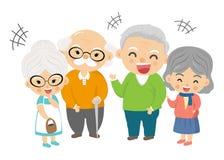 Morföräldergrupp som är lycklig i bra dag royaltyfri illustrationer