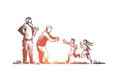 Morföräldrar barnbarn, familj, utvecklingsbegrepp Hand dragen isolerad vektor royaltyfri illustrationer